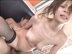 Asian girl is in a threesome and suck...