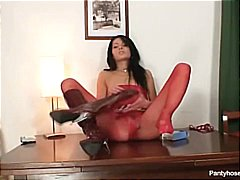 Skinny latina in nylon pantyhose fing...