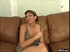 Mature brunette sucks on and rides younger...