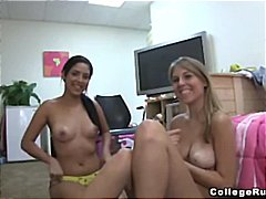 Two young lesbians get together after...