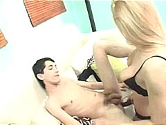 Blonde uses a strapon dildo to fuck h...
