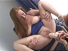 Chubby blonde gets her pussy stuffed with a very large dildo