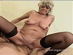 pussy, doggystyle, moaning, older, stockings, shaved, boobs, granny, cougar