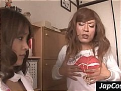 Lesbian cosplay scene from two Japane...