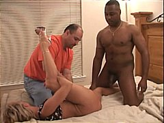 Blonde Nikki goes deep on black cock ...