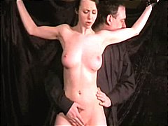 Brunette Emily is strung up and tortured in breaking Emily