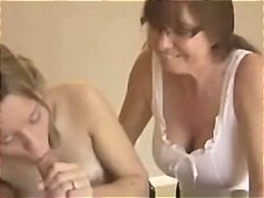 Mom and daughter blowjob