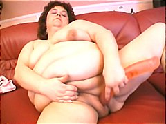 Chubby plumper using a... video