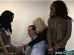 Naughty cfnm office sluts