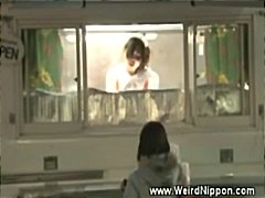 Horny japanese selling hotdogs accomp...