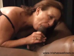 Brunette Trisha needs both hands and ...
