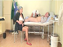 Horny young nurse bitch joins granny ...