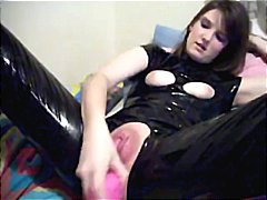 dildo, vibrator, shaved-pussy, homemade, small-tits, latex, brunette, toys, amateur