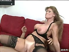 Horny big-tit brunette... video