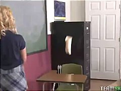 teen, blonde, smalltits, uniform,