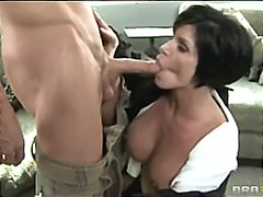 mature, orgasm, throat, brunette, mom, boobs, busty, tits, breasts, uniform, milf, deep, tit
