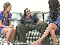cheerleader, mom, gagging, 3some,