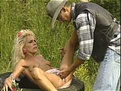 Blonde MILF fucks strapping cowboy in...