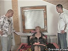 mmf, granny, 3some, homemade, shaved pussy