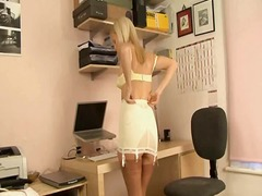 British blonde secretary pussy playing