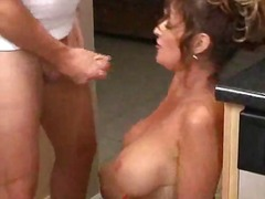 milf, tit, housewife, big, kitchen, fake, doggystyle, brunette, wife, tattoo