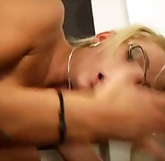 Hot small boobs chick in glasses and heels hammered