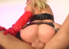 Anal in latex and thigh high fencenet...