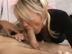 Milf gets on her knees...