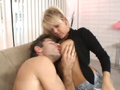 fake tits, blowjob, blonde, milf
