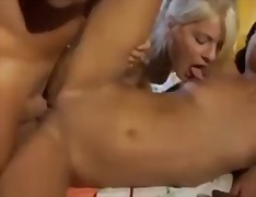 brunette, natural boobs, 3some, facial