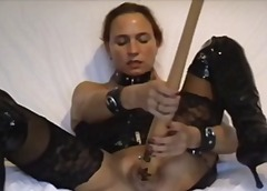 Girl masturbates with baseball bat