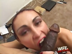 Amateur white wife at interracial casting