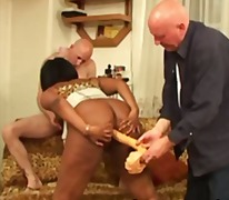 Isis beautiful ebony assfucked by sextoys