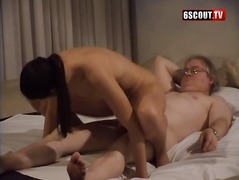 Teen with small tits and a ugly old guy