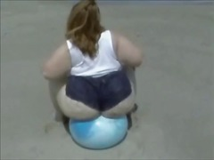 SSBBW bounces on ball ...