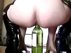 Thumb: Winebottle deep in ass...