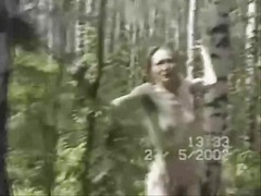 Ass spanking in woods