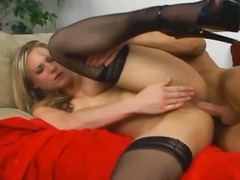 Blonde babe has sex in thigh high sto...