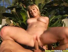 Adrianna Nicole gets pummeled in her garden