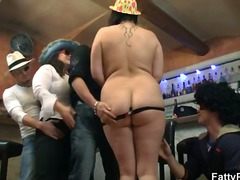 Three BBW strip for guys at the bar