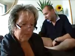 French Granny Seduces Two Big Guys by...
