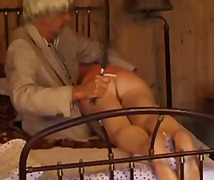 Father and daughter's friend spanking