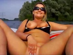 Hot blonde opens her cunt hole