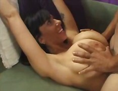 janine,  big boobs, cream pie, pov,