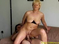 Crazy old mom gets fucked hard and cu...
