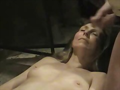 Mature lady takes cum on her face