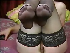 milf, foot, stockings,