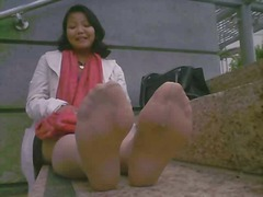 Asian mature stinky feet after work