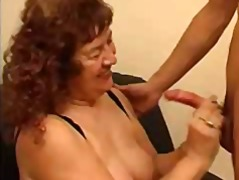 stockings, granny, blowjob, cumshot,