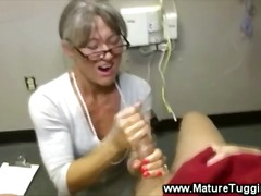 Horny mature wanks off... video